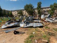 Последствия урагана 14 июля в районе воинской части